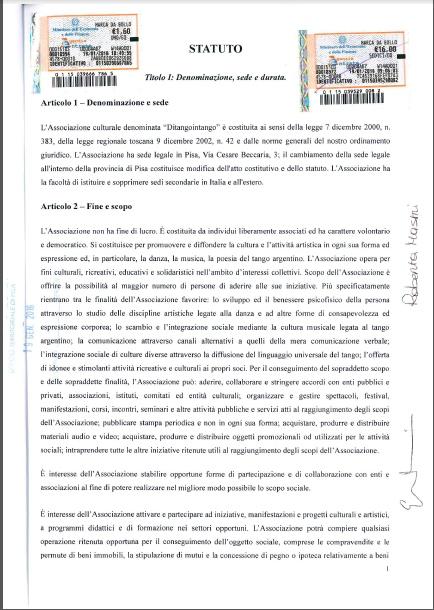 Statuto Associazione Culturale Ditangointango