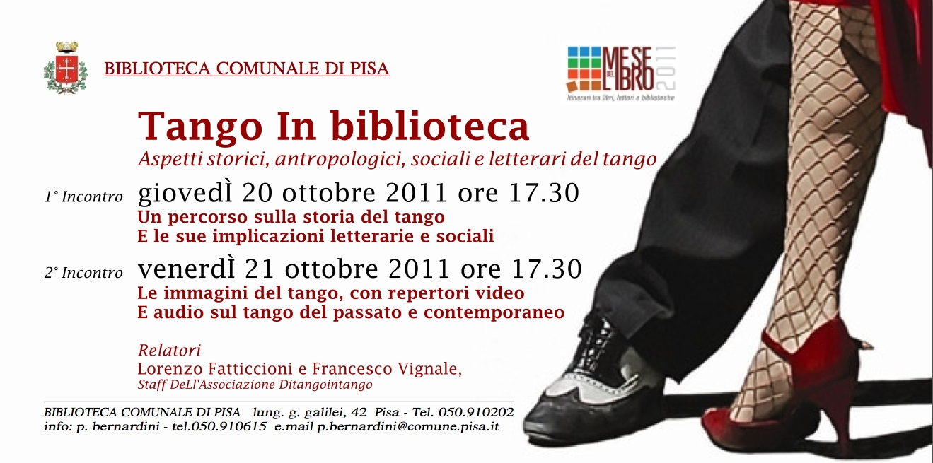 Tango in Biblioteca, 20 e 21 Ottobre Pisa
